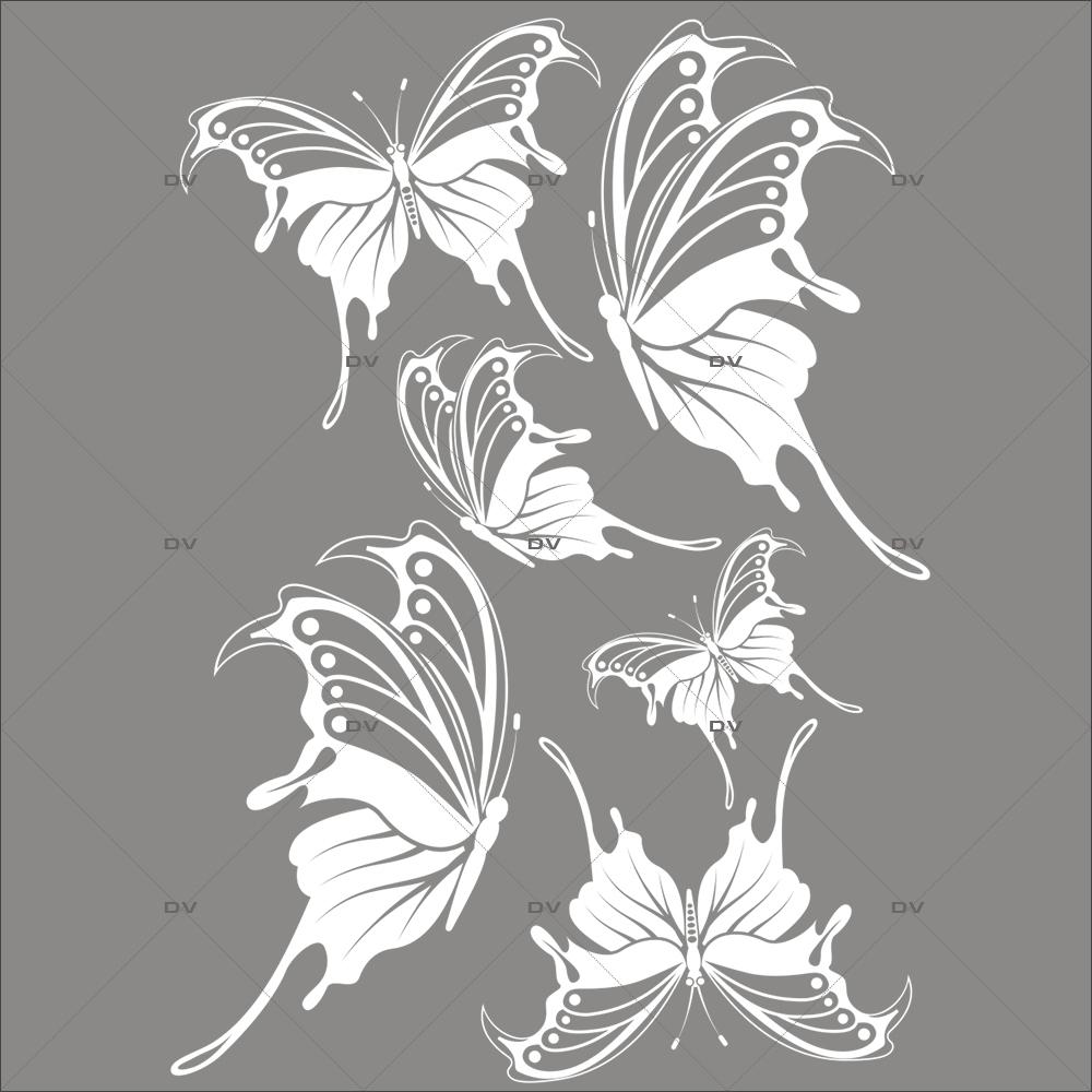 Sticker-papillons-blancs-animaux-nature-printemps-été-vitrophanie-décoration-vitrine-printanière-estivale-fêtes-pâques-électrostatique-sans-colle-repositionnable-réutilisable-DECO-VITRES