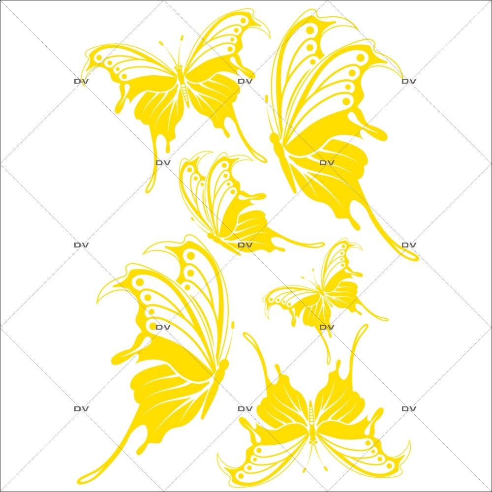 Sticker-papillons-jaunes-animaux-nature-printemps-été-vitrophanie-décoration-vitrine-printanière-estivale-fêtes-pâques-électrostatique-sans-colle-repositionnable-réutilisable-DECO-VITRES