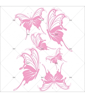 Sticker-papillons-roses-insectes-printemps-animaux-été-vitrophanie-décoration-vitrine-printanière-estivale-électrostatique-sans-colle-repositionnable-réutilisable-DECO-VITRES