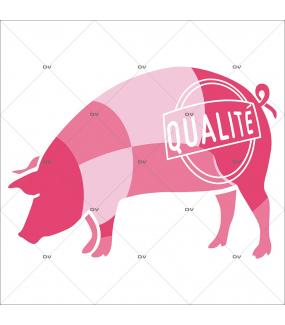 Sticker-porc-cochon-qualité-vitrophanie-décoration-vitrine-boucherie-charcuterie-électrostatique-sans-colle-repositionnable-réutilisable-DECO-VITRES