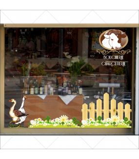 Sticker-oies-volailles-qualité-vitrophanie-décoration-vitrine-boucherie-charcuterie-électrostatique-épicerie-fine-restaurant-sans-colle-repositionnable-réutilisable-DECO-VITRES