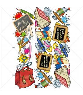 Sticker-frises-fournitures-scolaires-cartable-stylo-livre-ardoise-vitrophanie-décoration-vitrine-rentrée-des-classes-électrostatique-sans-colle-repositionnable-réutilisable-DECO-VITRES