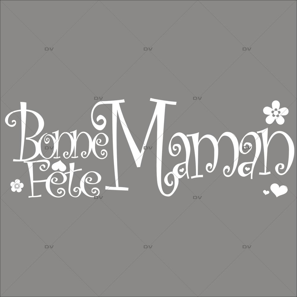 Sticker-bonne-fête-maman-fleurs-coeurs-texte-blanc-vitrophanie-décoration-vitrine-printanière-fête-mères-électrostatique-sans-colle-repositionnable-réutilisable-DECO-VITRES