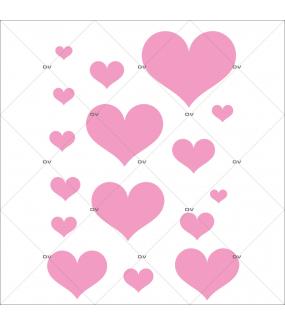 Sticker-coeurs-roses-vitrophanie-décoration-vitrine-fêtes-grands-mères-pères-st-valentin-soldes-noël-pâques-électrostatique-sans-colle-repositionnable-réutilisable-DECO-VITRES