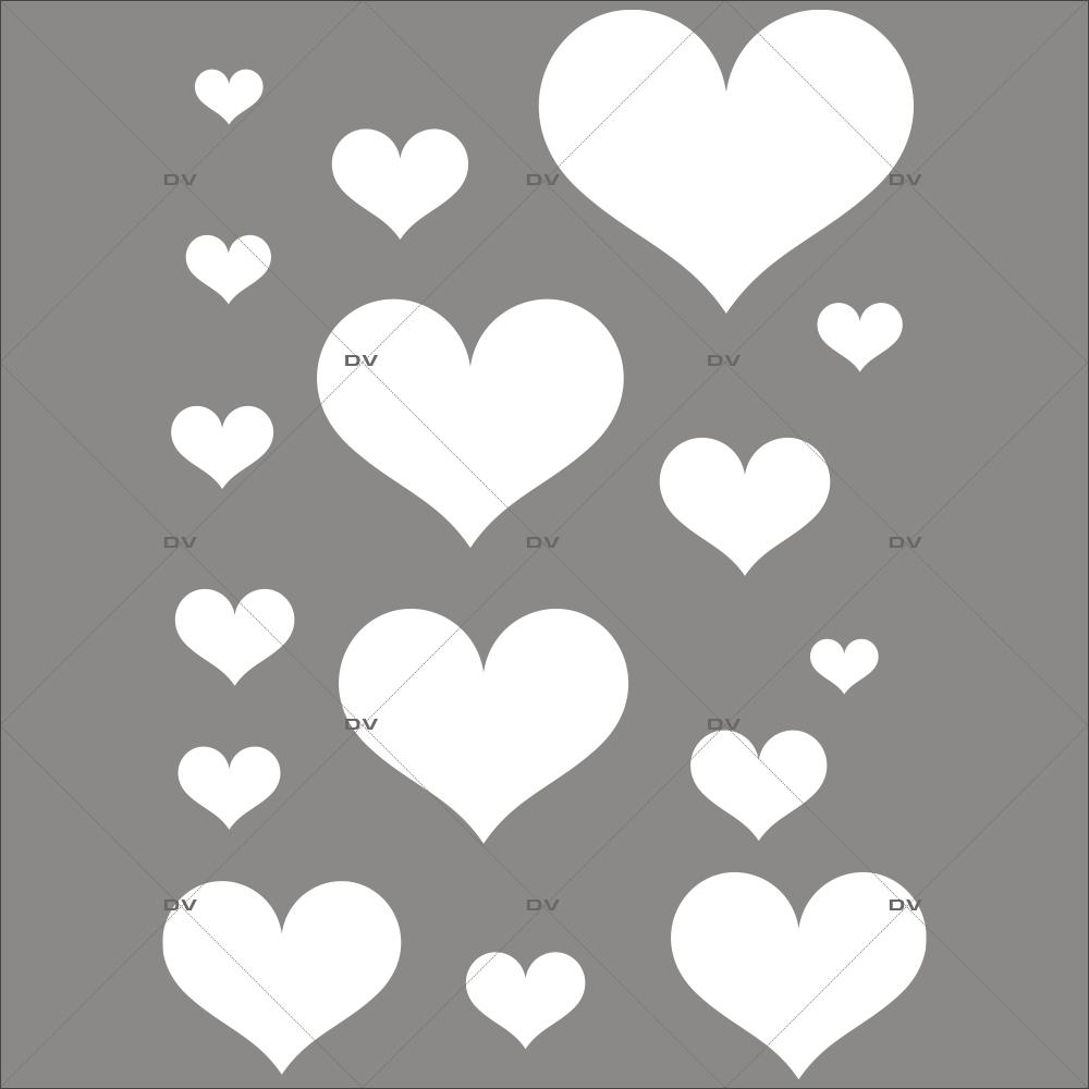 Sticker-coeurs-blancs-vitrophanie-décoration-vitrine-fêtes-grands-mères-pères-st-valentin-soldes-noël-pâques-électrostatique-sans-colle-repositionnable-réutilisable-DECO-VITRES