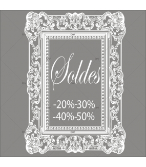 Sticker-soldes-pourcentages-cadre-retro-textes-blancs-vitrophanie-décoration-vitrine-promotionnelle-électrostatique-sans-colle-repositionnable-réutilisable-DECO-VITRES