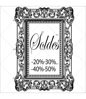 Sticker-soldes-pourcentages-cadre-retro-textes-noirs-vitrophanie-décoration-vitrine-promotionnelle-électrostatique-sans-colle-repositionnable-réutilisable-DECO-VITRES