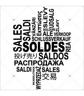 Sticker-soldes-multilingue-textes-noirs-soldes-vitrophanie-décoration-vitrine-promotionnelle-électrostatique-sans-colle-repositionnable-réutilisable-DECO-VITRES