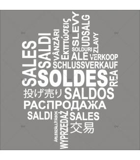 Sticker-soldes-multilingue-textes-blancs-soldes-vitrophanie-décoration-vitrine-promotionnelle-électrostatique-sans-colle-repositionnable-réutilisable-DECO-VITRES