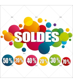 Sticker-soldes-pourcentages-ronds-multicolores-vitrophanie-décoration-vitrine-promotionnelle-électrostatique-sans-colle-repositionnable-réutilisable-DECO-VITRES