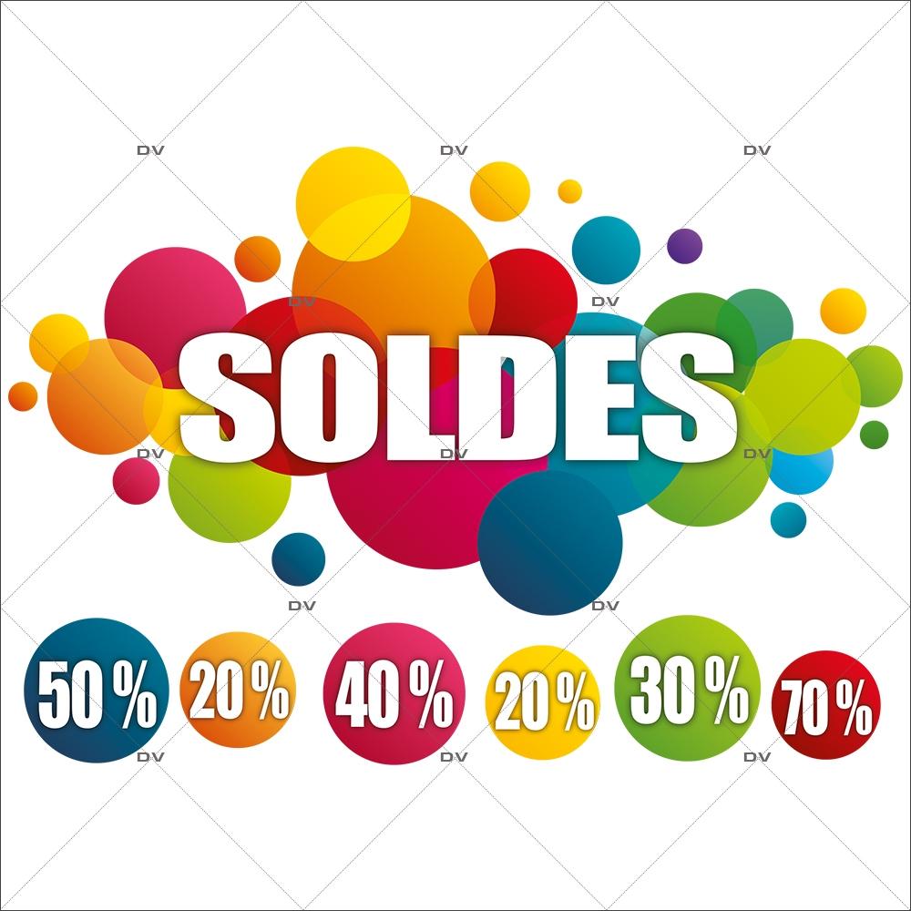 Sticker-soldes-pourcentages-ronds-multicolores-vitrophanie-décoration-vitrine-promotionnelle-électrostatique-sans-colle-repositionnable-réutilisable-DECO-VITRES