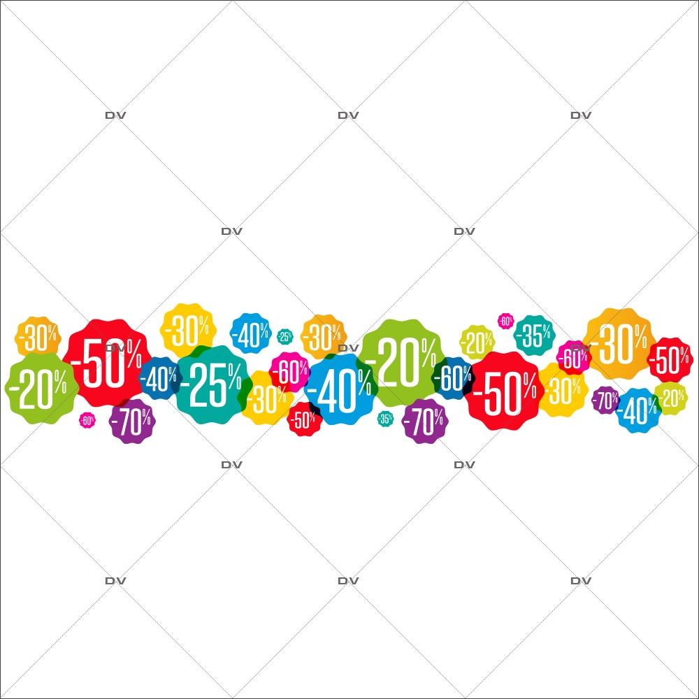Sticker-frise-étiquettes-soldes-pourcentages-multicolores-vitrophanie-décoration-vitrine-promotionnelle-électrostatique-sans-colle-repositionnable-réutilisable-DECO-VITRES