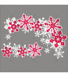 Sticker-angles-et-frise-cristaux-rouges-blancs-vitrophanie-décoration-vitrine-noël-électrostatique-sans-colle-repositionnable-réutilisable-DECO-VITRES