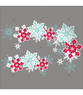 Sticker-angles-et-frise-cristaux-rouges-blancs-bleus-vitrophanie-décoration-vitrine-noël-électrostatique-sans-colle-repositionnable-réutilisable-DECO-VITRES