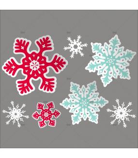 Sticker-cristaux-géants-rouges-blancs-bleus-vitrophanie-décoration-vitrine-noël-électrostatique-sans-colle-repositionnable-réutilisable-DECO-VITRES