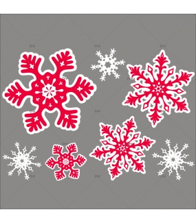 Sticker-cristaux-géants-rouges-blancs-vitrophanie-décoration-vitrine-noël-électrostatique-sans-colle-repositionnable-réutilisable-DECO-VITRES