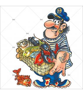 Sticker-pêcheur-et-sa-cagette-de-poissons-vitrophanie-décoration-vitrine-électrostatique-sans-colle-repositionnable-réutilisable-DECO-VITRES