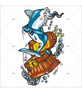 Sticker-espadon-coffre-au-trésor-marine-mer-pirate-poisson-mer-chambre-bébé-enfant-salle-de-bains-adhésif-encres-écologiques-latex-décoration-intérieure-DECO-VITRES