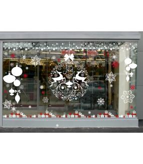 fb19 sticker boules de no l et cristaux deco vitres electrostatique. Black Bedroom Furniture Sets. Home Design Ideas