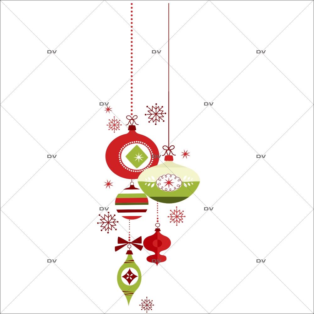 Sticker-suspensions-boules-de-noël-cristaux-vert-rouge-thème-traditionnel-fête-vitrophanie-décoration-vitrine-noël-électrostatique-sans-colle-repositionnable-réutilisable-DECO-VITRES