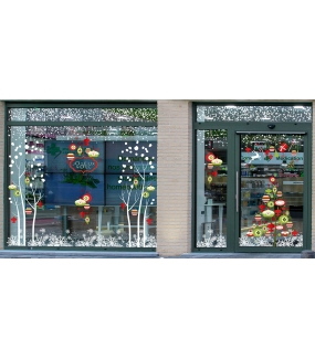 fb20 sticker boules de no l et cristaux deco vitres electrostatique. Black Bedroom Furniture Sets. Home Design Ideas