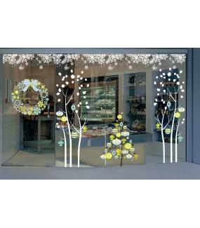 Sticker-suspensions-boules-de-noël-cristaux-bleu-vert-anis-thème-moderne-fête-vitrophanie-décoration-vitrine-noël-électrostatique-sans-colle-repositionnable-réutilisable-DECO-VITRES
