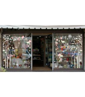 Sticker-suspensions-boules-de-noël-cristaux-rose-vert-thème-romantique-couleurs-pastel-fête-vitrophanie-décoration-vitrine-noël-électrostatique-sans-colle-repositionnable-réutilisable-DECO-VITRES