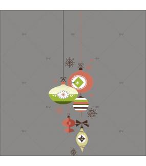 Sticker-suspensions-boules-de-noël-cristaux-brique-vert-beige-thème-vintage-fête-vitrophanie-décoration-vitrine-noël-électrostatique-sans-colle-repositionnable-réutilisable-DECO-VITRES