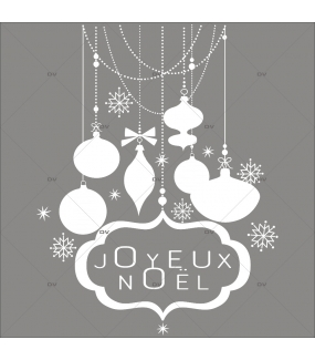 Sticker-suspensions-boules-de-noël-enseigne-texte-joyeux-noël-cristaux-thème-blanc-vitrophanie-décoration-vitrine-noël-électrostatique-sans-colle-repositionnable-réutilisable-DECO-VITRES