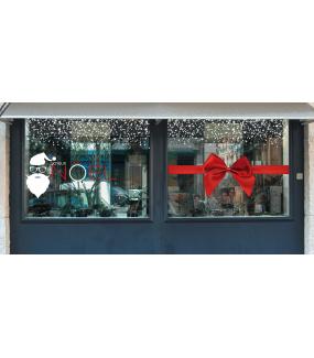 Sticker-tête-de-père-noël-lunettes-silhouette-blanc-vitrophanie-décoration-vitrine-noël-opticien-électrostatique-sans-colle-repositionnable-réutilisable-DECO-VITRES