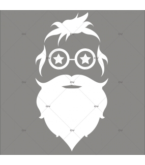 Sticker-tête-de-père-noël-lunettes-étoiles-silhouette-blanc-vitrophanie-décoration-vitrine-noël-opticien-électrostatique-sans-colle-repositionnable-réutilisable-DECO-VITRES