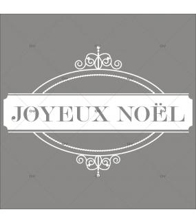 Sticker-médaillon-texte-joyeux-noël-blanc-retro-vitrophanie-décoration-vitrine-noël-électrostatique-sans-colle-repositionnable-réutilisable-DECO-VITRES
