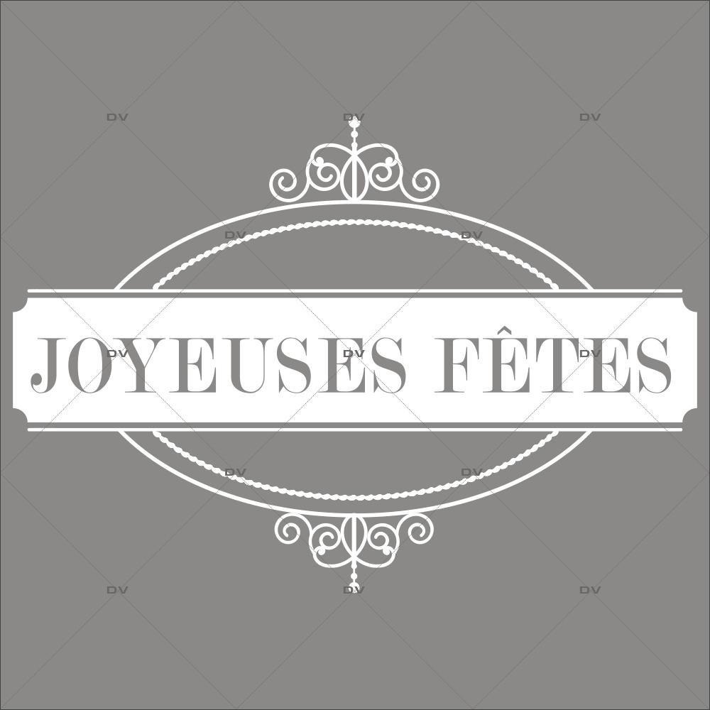 Sticker-médaillon-texte-joyeuses-fêtes-blanc-retro-vitrophanie-décoration-vitrine-noël-opticien-électrostatique-sans-colle-repositionnable-réutilisable-DECO-VITRES