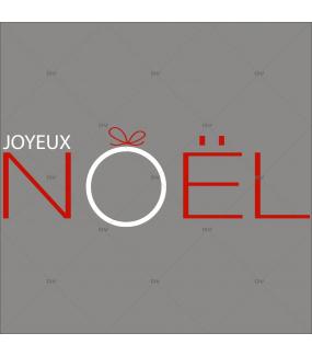 Sticker-texte-joyeux-noël-graphique-moderne-rouge-blanc-vitrophanie-décoration-vitrine-noël-opticien-électrostatique-sans-colle-repositionnable-réutilisable-DECO-VITRES