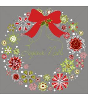 Sticker-couronne-de-noël-texte-joyeux-noël-cristaux-thème-traditionnel-rouge-vert-vitrophanie-décoration-vitrine-noël-électrostatique-sans-colle-repositionnable-réutilisable-DECO-VITRES