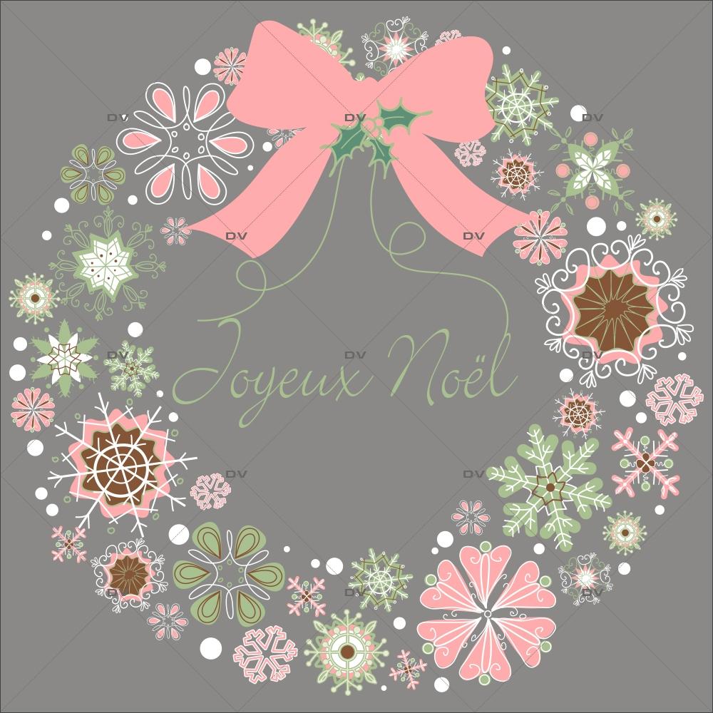 Sticker-couronne-de-noël-texte-joyeux-noël-cristaux-thème-romantique-rose-vert-couleurs-pastel-vitrophanie-décoration-vitrine-noël-opticien-électrostatique-sans-colle-repositionnable-réutilisable-DECO-VITRES