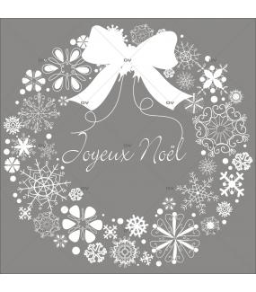 Sticker-couronne-de-noël-texte-joyeux-noël-cristaux-blanc-vitrophanie-décoration-vitrine-noël-électrostatique-sans-colle-repositionnable-réutilisable-DECO-VITRES