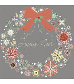 Sticker-couronne-de-noël-texte-joyeux-noël-cristaux-thème-vintage-brique-vert-beige-vitrophanie-décoration-vitrine-noël-électrostatique-sans-colle-repositionnable-réutilisable-DECO-VITRES