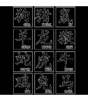 Sticker-signes-astrologiques-tableau-complet-asiatique-ambiance-décoration-asie-retro-zen-Chine-adhésif-teinté-dans-la-masse-26-couleurs-au-choix-découpé-mural-ou-vitres-décoration-intérieure-DECO-VITRES