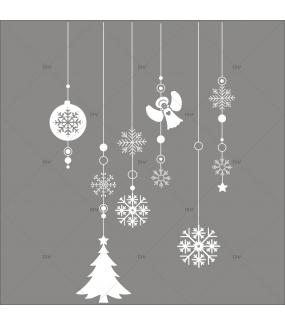 Sticker-frise-suspensions-boules-de-noël-blanc-ange-cristaux-sapin-vitrophanie-décoration-vitrine-noël-électrostatique-sans-colle-repositionnable-réutilisable-DECO-VITRES