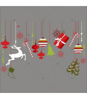 Sticker-frise-de-noël-icônes-boules-sapin-cristaux-renne-paquets-cadeaux-thème-rouge-vert-traditionnel-vitrophanie-décoration-vitrine-noël-électrostatique-sans-colle-repositionnable-réutilisable-DECO-VITRES
