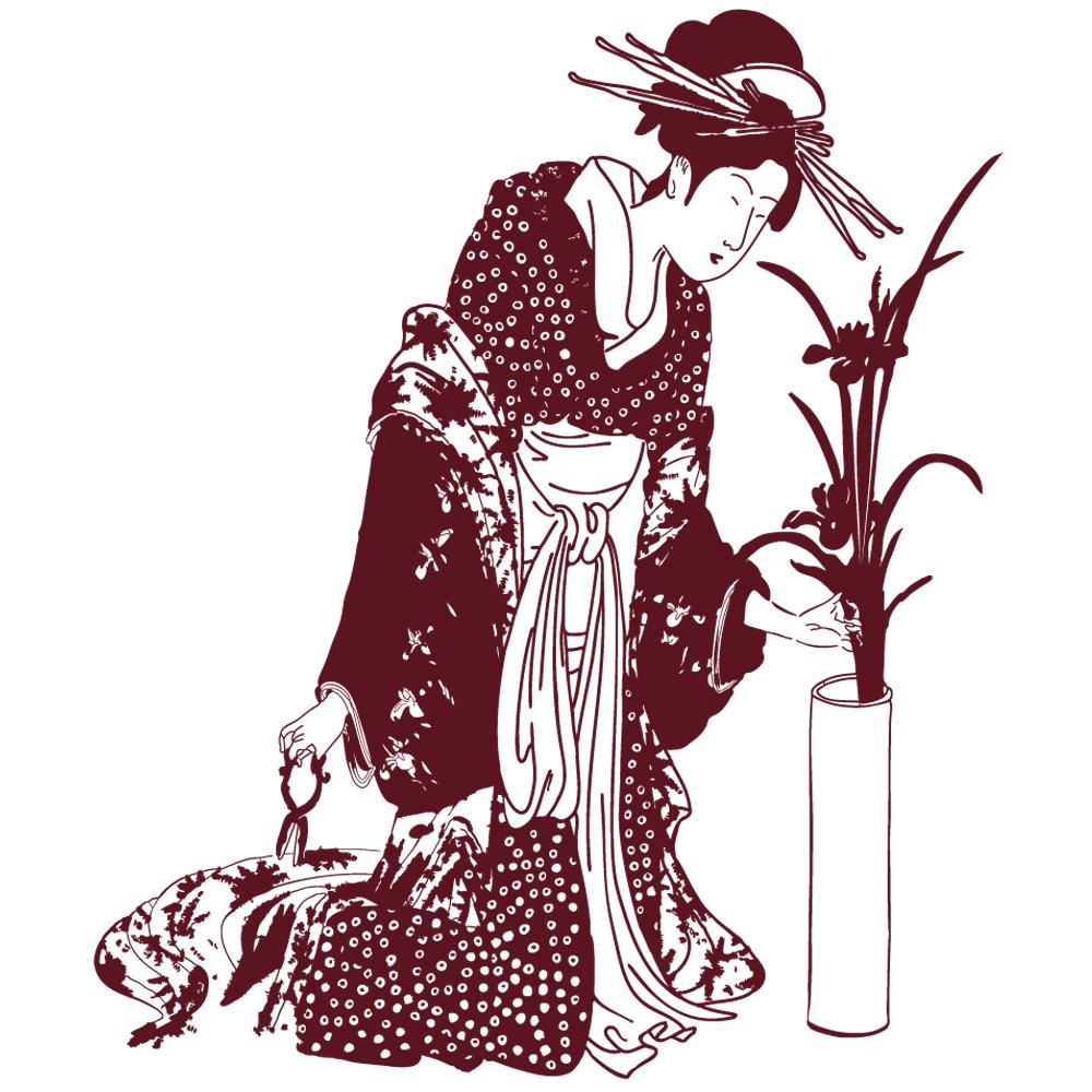 Sticker-japonaise-geisha-vase-Japon-asiatique-ambiance-décoration-asie-zen-adhésif-teinté-dans-la-masse-26-couleurs-au-choix-découpé-mural-ou-vitres-décoration-intérieure-DECO-VITRES