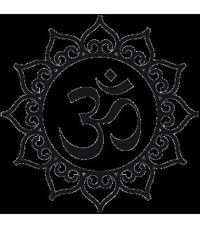 Sticker-OM-motif-Inde-asiatique-ambiance-décoration-asie-zen-adhésif-teinté-dans-la-masse-26-couleurs-au-choix-découpé-mural-ou-vitres-décoration-intérieure-DECO-VITRES