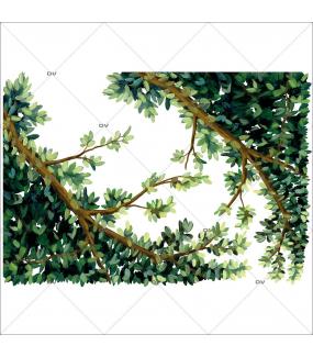 Sticker-angles-feuillages-printemps-été-paysage-campagne-vitrophanie-décoration-vitrine-estivale-électrostatique-sans-colle-repositionnable-réutilisable-DECO-VITRES