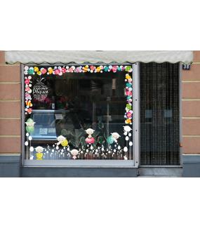 Sticker-angles-oeufs-et-lapins-blancs-vitrophanie-décoration-vitrine-pâques-printanière-électrostatique-sans-colle-repositionnable-réutilisable-DECO-VITRES