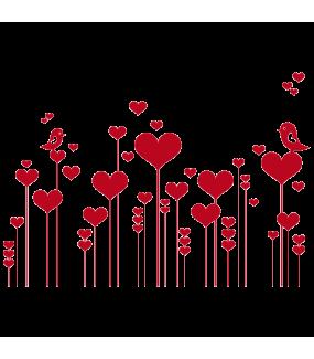 Sticker-frise-de-coeurs-et-oiseaux-roses-chambre-bébé-enfant-adhésif-teinté-dans-la-masse-26-couleurs-au-choix-découpé-mural-ou-vitres-décoration-intérieure-DECO-VITRES