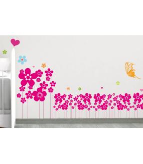 Sticker-frise-de-fleurs-chambre-bébé-enfant-printemps-cuisine-salon-adhésif-teinté-dans-la-masse-26-couleurs-au-choix-découpé-mural-ou-vitres-décoration-intérieure-DECO-VITRES