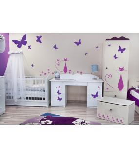 Sticker-3-chats-chambre-bébé-enfant-adhésif-teinté-dans-la-masse-26-couleurs-au-choix-découpé-mural-ou-vitres-décoration-intérieure-DECO-VITRES