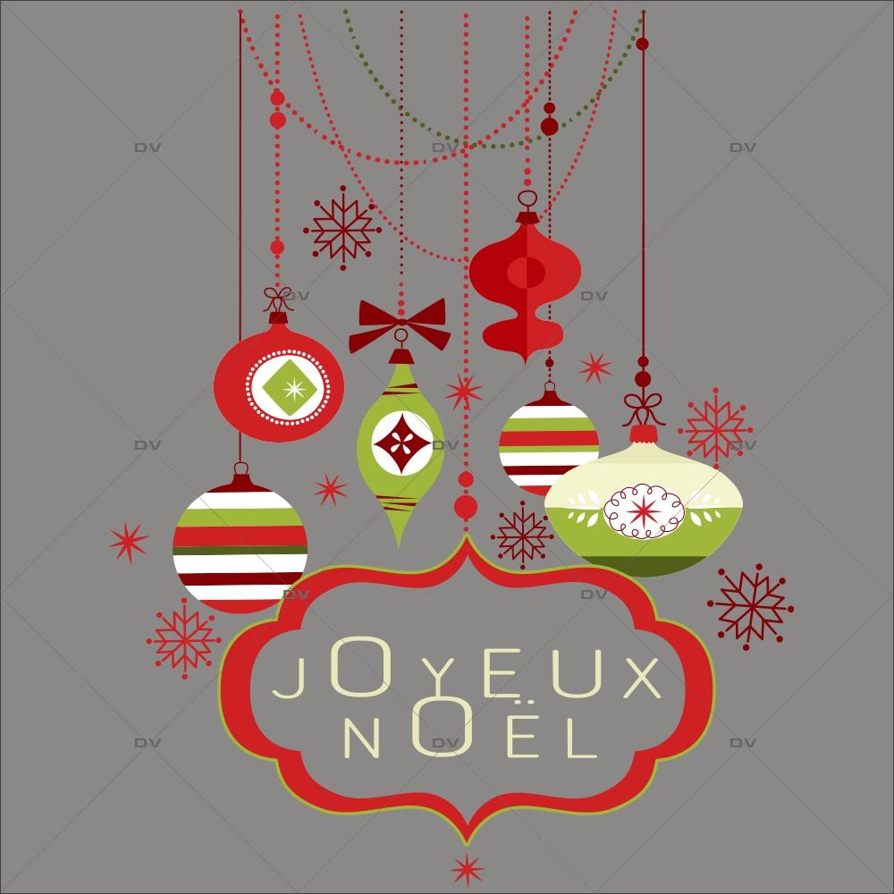 Sticker-suspensions-boules-de-noël-enseigne-texte-joyeux-noël-cristaux-thème-traditionnel-rouge-vert-vitrophanie-décoration-vitrine-noël-électrostatique-sans-colle-repositionnable-réutilisable-DECO-VITRES