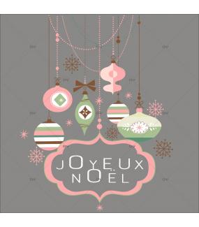 Sticker-suspensions-boules-de-noël-enseigne-texte-joyeux-noël-cristaux-thème-romantique-rose-vert-couleurs-pastel-vitrophanie-décoration-vitrine-noël-électrostatique-sans-colle-repositionnable-réutilisable-DECO-VITRES
